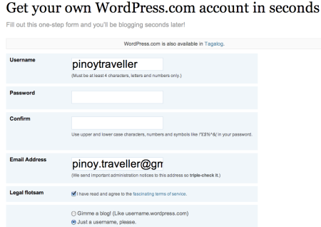 Getting A WordPress.com User Account